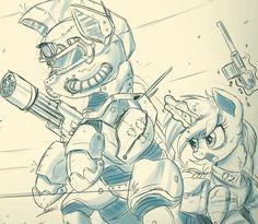 Sketch Comm - Steel Hooves and Littlepip by NCMares.deviantart.com on @DeviantArt