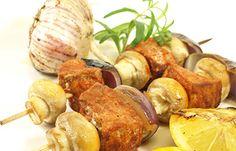 Pork Mushroom Kabobs - Pork tenderloin creates tasty pork kabobs with mushrooms basted with red wine vinaigrette.