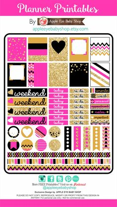 FREE Planner PRINTABLES! Gold Glitter, Black, Pink. Great in your Filofax, Erin Condren, Life Planner, Agendas, Kate Spade Inspired Stickers, Notecards, Organizing/Gift Labels, Notebooks, Stationary, Journals, Plum Paper. DIY Crafts, Cricut or Silhouette Projects & more... DOWNLOAD - PRINT - CUT. By APPLE EYE BABY SHOP