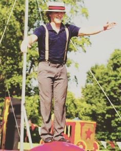 "Happy Double Feature Big Show Friday! Meet Shane! Shane is a member of the Vintage cast and is the Lead Trapeze Artist with the Cincinnati Circus Company. He has made more than a 1000 appearances in his 7 years performing with the Circus. His skills include everything from juggling walking globes whip-cracking stilt-walking balloon-twisting and instruction for the company's flying trapeze school. When we asked what his secret to success was he simply said ""I just do stuff."""
