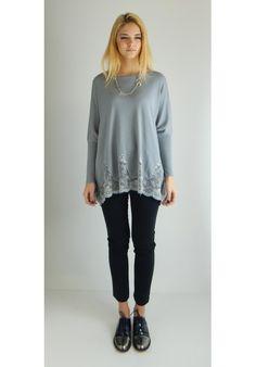 MAGLIA BAGGY PIZZO GRIGIO CHIARO - Melissa Agnoletti http://www.melissaagnoletti.com/it/home/1356-maglia-baggy-pizzo-grigio-chiaro.html #Melissaagnoletti #Fashion #Style
