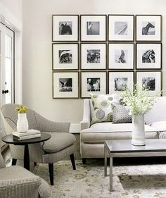 Chic happens when you group together art that is uniformly framed, themed or colored.