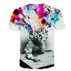 Men's Cool Unique Colorful Animal Graphic Pattern Brain Thinking 3D Pr ($9.93) ❤ liked on Polyvore featuring men's fashion, men's clothing, men's shirts and men's t-shirts