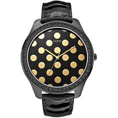 GUESS Black and Gold-Tone Polka-Dot Watch $105