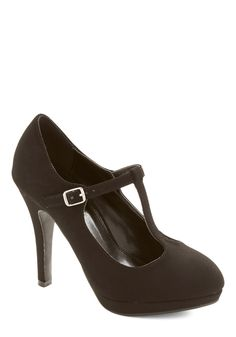 Fashion Show Must Go On Heel in Black. Exciting wardrobe changes and pre-show lineup adjustments are a stylish cinch when carried out in these black T-strap heels! #black #prom #modcloth