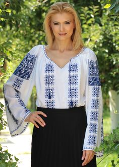 Ie Romaneasca - Chic Roumaine Beaded Embroidery, Bell Sleeve Top, Tunic Tops, Costumes, Chic, Beautiful, Women, Fashion, Folklore