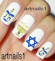 Hanukkah Chanukah Nail Art Jewish Nails Polish by Claire's Nails, Nails Polish, Clear Nail Polish, Fun Nails, Nail Water Decals, Nail Decals, Holiday Nails, Christmas Nails, Feliz Hanukkah