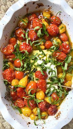 Pasta Recipes, Appetizer Recipes, New Recipes, Dinner Recipes, Appetizers, Cooking Recipes, Favorite Recipes, Healthy Recipes, Baked Tomato Recipes