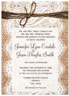 western wedding invitations with lace