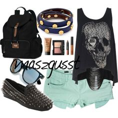 Just a few tweeks would make this outfit so cute! Love the shirt BUT I see it's bare at the back so adding a white tank under would help it be not as revealing! And the shoes O.O I think I'd be a little scared to wear em! So how about some plain black Toms? ;)  Google Image Result for http://wd2.photoblog.pl/np1/201206/40/126622991.jpg