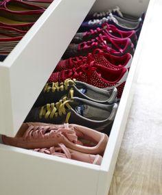 Stack shoes neatly in an organized wardrobe drawer #IKEAFAMILYMAGAZINE