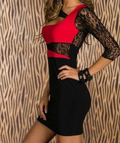 3/4 Sleeves Hollow Out Lace Embroidered Stitching Beam Waist Packet Buttock Sexy Women's Dress | TwinkleDeals.com