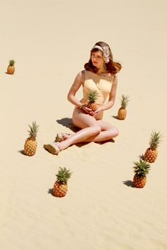 Apricot Swimsuit - pineapples