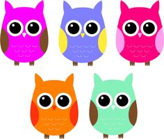 set of 5 full color owls vinyl wall decal by yourvinylanswer 2800