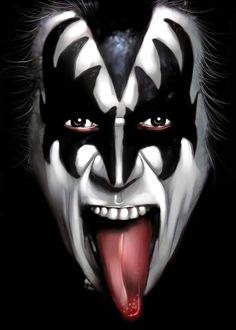 Image about art in Kiss.Gene Simmons by Kiss Band, Kiss Rock Bands, Banda Kiss, Star Hollywood, Gene Simmons Kiss, Gene Simmons Tongue, Kiss Tattoos, Arte Black, Rock Band Posters