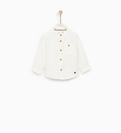 ZARA - KIDS - MANDARIN COLLAR SHIRT WITH TEXTURED WEAVE