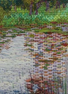 Canvas stitches - Diploma Paula Bianchi - idea for stitching my Monet's Water Lilies w/ Japanese Bridge