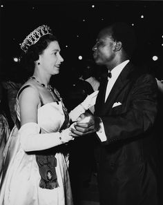 Queen Elizabeth II dancing with President Kwame Nkrumah - at the High Life Ball, held at the State House, Accra, Ghana, November (Photo by Popperfoto/Getty Images) Queen Elizabeth Wedding, Young Queen Elizabeth, Princess Elizabeth, Hm The Queen, Her Majesty The Queen, Save The Queen, Jamie Nelson, English Royal Family, African Royalty