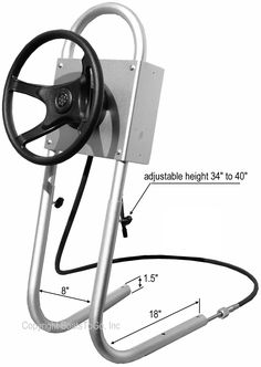 Aluminium Steering System For Inflatable Motor Boats, RIB Boats, Aluminium Jon Boats and Small Fiberglass Boats. Helm, Calbe and Wheel Are Included!
