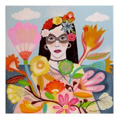 SALE. Mexican girl with Carnival Mask. Original by BohoGarden, $95.00