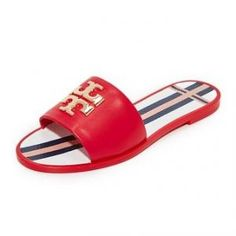 1846fb611 Tory Burch Nantucket Red Logo Leather Jelly Slides - Sale