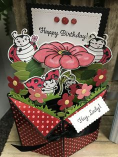 Little Ladybug Tuxedo Pop-Up Box Card Stampin Up, Fancy Fold Cards, Folded Cards, Handmade Birthday Cards, Diy Birthday, Birthday Gifts, Card Making Tutorials, Making Ideas, Tuxedo Card