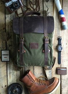 LEO - Green Canvas Backpack $140 - full grain leather, durable duck canvas, copper rivets and brass hardware