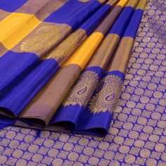 Subhashini Yellow & Violet Handwoven Kanjivaram Silk Saree with Checks & Paisley Motifs 10009152 - AVISHYA.COM