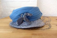50s hat // vintage 1950s cloche with netting // sky by BlueFennel, $20.00