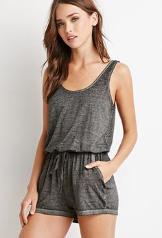 Heathered Drawstring Romper | Forever 21 - 2000053513