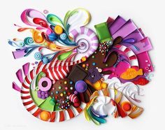 Paper art by Yulia Brodskaya: Candy crush