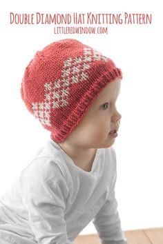 ff33dcc0385 Double Diamond Hat Knitting Pattern for newborns
