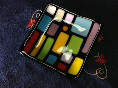 Fused Glass Plate Multicolor Squares and by DancingGlass on Etsy, $10.00
