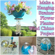 The Homestead Survival | Make a Hanging Strainer Flower Planter Wind Chime Project | http://thehomesteadsurvival.com  DIY Project