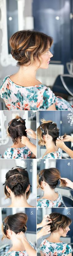 Step-by-step tutorial for creating an updo with short hair - tuto coiffure vraiment sympa pour cheveux courts Up Hairstyles, Pretty Hairstyles, Layered Hairstyles, Evening Hairstyles, Simple Hairstyles, Bridal Hairstyles, Hair Today, Hair Dos, Hair Hacks
