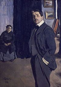 Portrait of Serge Diaghilev with His Nanny, by Léon Bakst (1906)-:usually referred to outside of Russia as Serge, was a Russian art critic, patron, ballet impresario and founder of the Ballets Russes, from which many famous dancers and choreographers would arise.