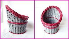 Плетение корзины из газет с объемной загибкой и плавным поднятием стенок...