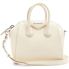 Givenchy Antigona mini leather cross-body bag (€1.450) ❤ liked on Polyvore featuring bags, handbags, shoulder bags, cream, white leather shoulder bag, leather crossbody handbags, leather crossbody purse, white leather handbags and leather cross body purse