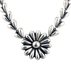 """Old Mexican Silver Flower Necklace • Pre-1948 Silver Petals Choker with Daisy • Vintage Mexican Choker • 15"""" Long by EncoreJewelryandGems on Etsy"""