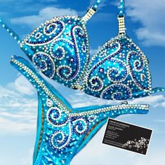 Physique Competition, Bikini Competition Suits, Figure Competition Suits, Figure Suits, Crystal Design, Gym Wear, Confetti, Sapphire, Turquoise