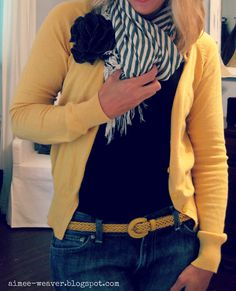 I'm liking yellow a lot lately. Fun-up this almost preppy outfit.