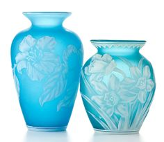 THOMAS WEBB AND SONS  Two cameo glass vases patterned with wildflowers, circa 1890