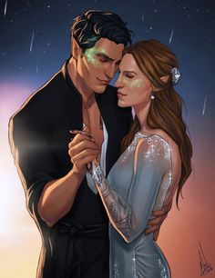 "cocotingo: """"…until the gold disc of the sun gilded Velaris."" Rhysand and Feyre, dancing until dawn during Starfall. I just love them so so much!!!! """