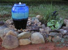 Beautiful Multi-Blue Urn Fountain. Purchased from Southern Grace and installed by one of our customers. Thanks for the picture. Installation time less than two hours. WE SHIP 540 948-2239