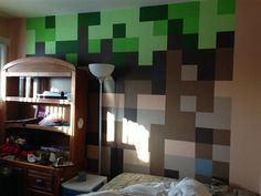 wall detail for boys bedroom, need more of a  recognizable form though... 12 Awesome Minecraft Bedrooms Ideas