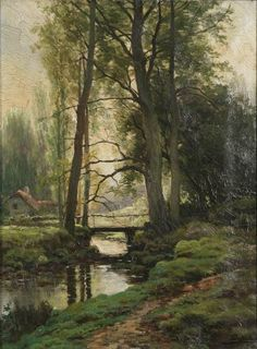 Wooded view with house near a brook by Ferdinand de Prins | Blouin Art Sales Index