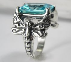 Dragonfly Statement Ring - Aquamarine Dragonfly Ring - Unique Dragonfly Jewelry - Silver Sky Blue Whimsical Jewelry - Vintage Inspired