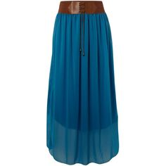 Belted boho maxi skirt with elasticated waistband and string detail. Length 101 cm Full skirt. Belt included. 95% Polyester, 5% Elastane. Hand wash only.