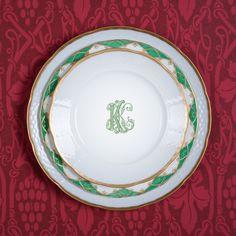 Set of Weave Handpainted 24 Karat Gold Rimmed Monogrammed Salad Plates