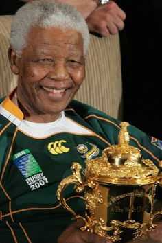 SpringBok Captain De Villiers Said:'My lasting Memory of Madiba is that of a person who had enormous ability to bring people together, His presence at a Test match just lifted the crowd and energized the Team'. South African Rugby, All Blacks, Rugby World Cup, Pictures Of People, Nelson Mandela, My Childhood Memories, African Fashion, African Style, My Man